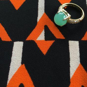 Chrysoprase Ring with Prada Material