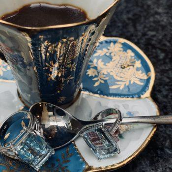 Espresso and Aquamarine Rings