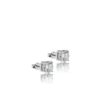 White Diamond Studs Made in Italy 18kt White Gold