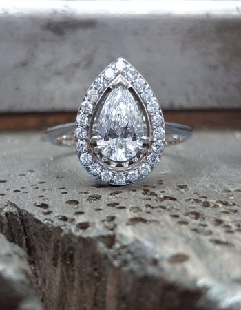 White Diamond Pear White Diamond Halo Ring