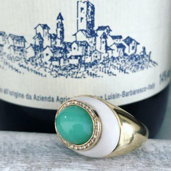 chrysoprase 18kt gold made in italy ring vallebona wine