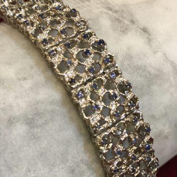 Blue Sapphire 18k White Gold Handworked Bracelet