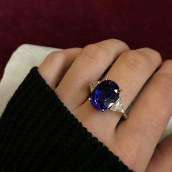 Tanzanite and White Trillion Diamond Ring