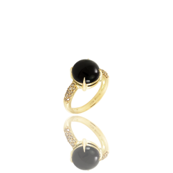 Agate and Champagne Diamond Cocktail Ring Made in Italy