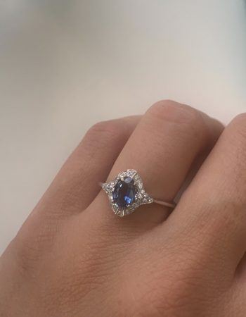 Blue Sapphire White Diamond Surround Engagement Cocktail Ring Made in Italy