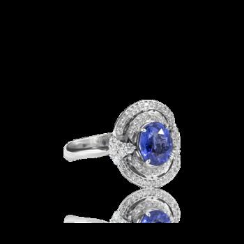 Tanzanite and White Diamond Baroque Halo Ring