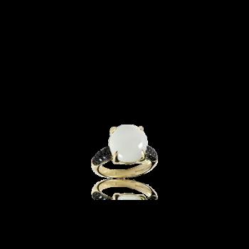 White Moonstone Ring with Black Diamonds