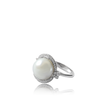 White Pearl ring with White Diamond Baroque surround