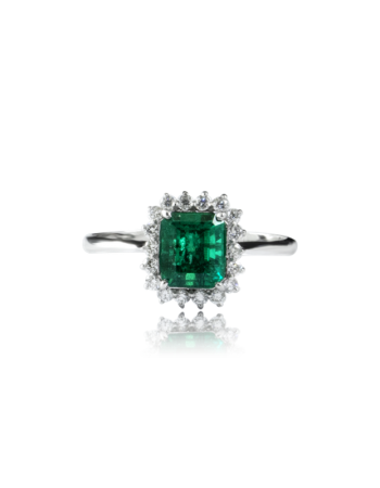product Emerald and White Diamond Surround Ring